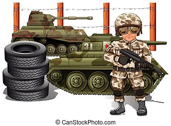 Soldier holding gun and two military tanks