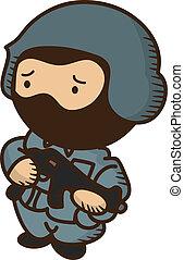 soldier holding gun