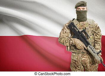 Soldier holding machine gun with flag on background series -...