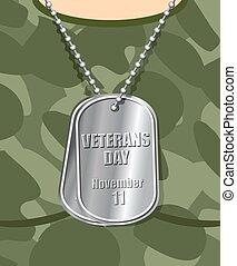 soldier., holiday., 11 月, 国民, tシャツ, 11, 胸, 軍隊, 愛国心が強い, アートワーク, 日, medallion., バッジ, 軍, アメリカ人, 彼の, veteran.
