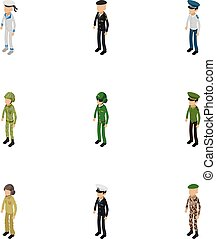 Soldier icons set, isometric style