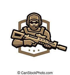 soldier., illustration., emblem., vettore, logotipo, forze, speciale