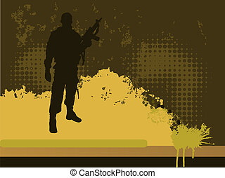 soldier - vector illustration of a soldier sihouette on a...