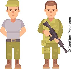 Soldier in a T-shirt and cap. Man in military uniform holding a rifle. Flat character illustration