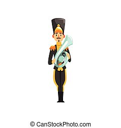 Soldier in black uniform playing french horn, member of army military band with musical instrument vector Illustration on a white background