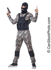 Soldier in camouflage with gun on white