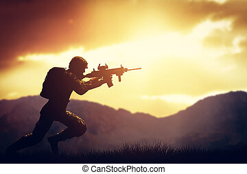 Soldier in combat shooting with his weapon, rifle. War, army concept