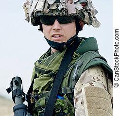 soldier in desert uniform