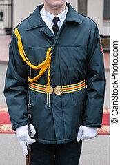 soldier in dress parade uniform