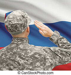 Soldier in hat facing national flag series - Slovenia - ...