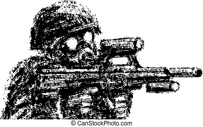 Soldier in helmet and gas mask aiming from assault rifle. Vector illustration.