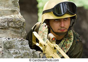 Soldier in helmet with headset