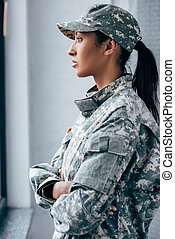 soldier in military uniform - african american female...