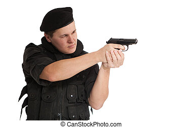 Soldier in NATO uniform with the Makarov pistol. Isolated on...