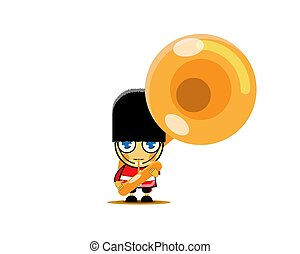 Soldier in red uniform playing french horn, member of army military band with musical instrument. Vector Illustration