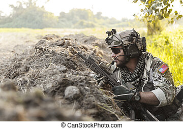 soldier in the mountains