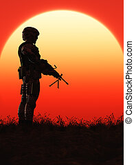Soldier in the Sunset - This image shows a soldier in the...