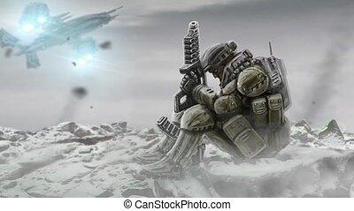 Soldier is waiting the evacuation. Landing spacecraft....