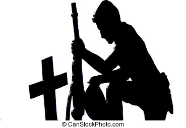 Soldier kneeling silhouette - Black Silhouette against a ...