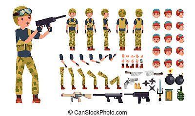 Soldier Male Vector. Animated Character Creation Set. Military Man Full Length, Front, Side, Back View, Accessories, Poses, Face Emotions, Gestures. War. Army Soldier Uniform. Illustration