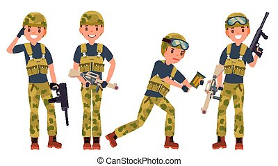 Soldier Male Vector. With Gun. Silhouette. Shooter. Camouflage Uniform. War. Isolated Flat Cartoon Character Illustration