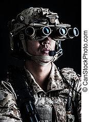 soldier man hold aggressive fashion
