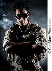 soldier man sunglasses Cigar fashion