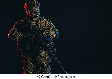 soldier man with weapon