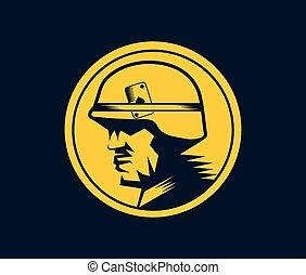 soldier mascot label