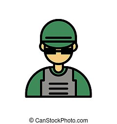 soldier military force isolated icon