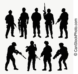 Soldier military with weapon pose silhouette. Good use for...