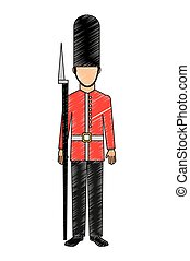 soldier of london isolated icon