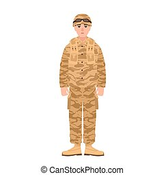 Soldier of USA armed forces wearing combat uniform. Infantryman or serviceman in battledress isolated on white background. Male cartoon character. Colorful vector illustration in flat cartoon style.
