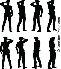 Soldier, officer, captain, policeman saluting