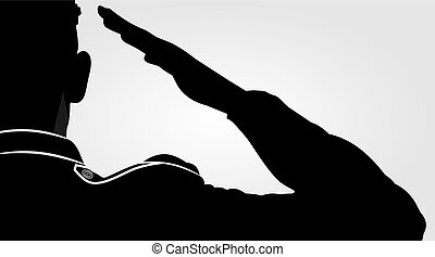 Soldier, officer saluting silhouette.
