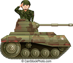 Soldier on a tank