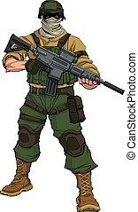Soldier on Patrol - Full-length illustration of masked...