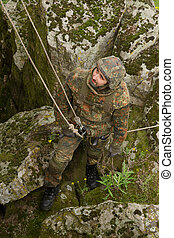 Soldier on the rope