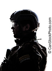 soldier on white background - Silhouette of young soldier in...