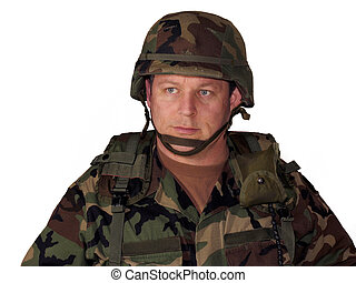 Soldier on white - American soldier with helmet and gear...