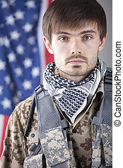 Soldier over american flag