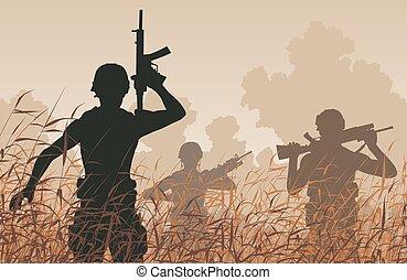 Soldier patrol - EPS8 editable vector illustration of...
