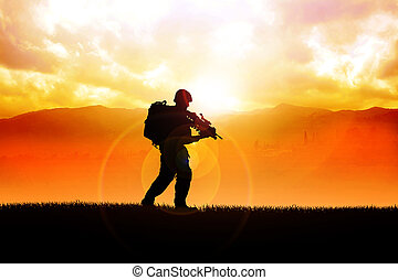 Soldier - Silhouette illustration of a soldier on the field