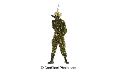Soldier pointed their guns in the strontium. White...