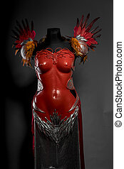 Soldier Praetorian, red armor for women with Roman helmet, adaptation of the classic style to one of fantasy.