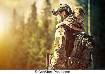 Soldier Returning Home After Years of War. Happy Daughter...