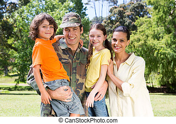 Soldier reunited with family - Handsome soldier reunited...