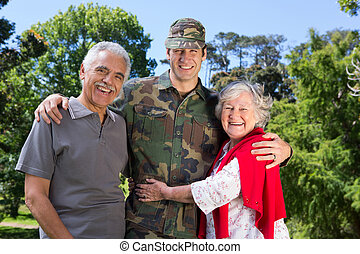Soldier reunited with his parents