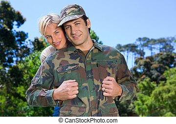 Soldier reunited with partner