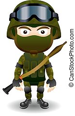 Soldier rpg military character combat black mask male set